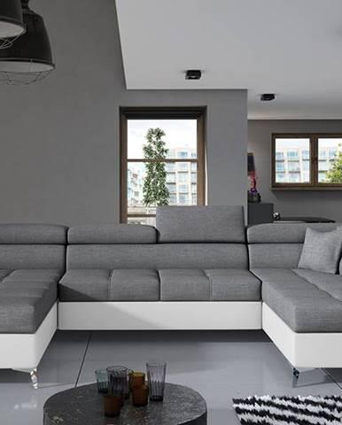 Enrico U P rohová sedačka u s rozkladom a úložným priestorom sivá