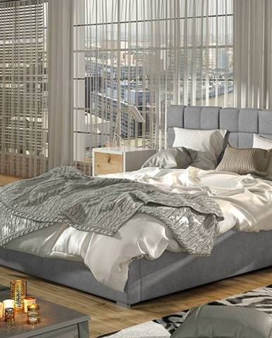 Galimo UP 140 čalúnená manželská posteľ s roštom svetlosivá
