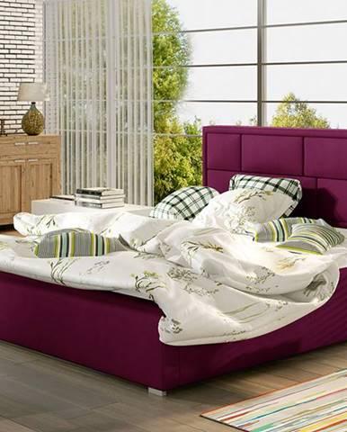 Liza 200 čalúnená manželská posteľ s roštom vínová