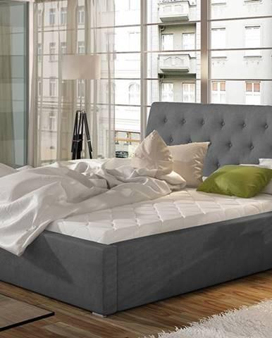 Monzo 140 čalúnená manželská posteľ s roštom tmavosivá