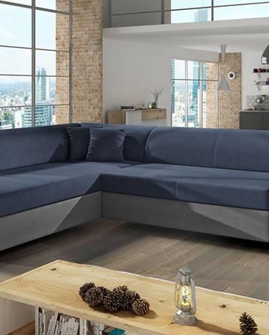 Pinero L rohová sedačka s rozkladom a úložným priestorom modrá