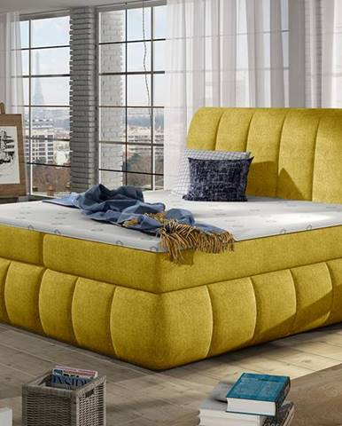 Vareso 180 čalúnená manželská posteľ s úložným priestorom žltá