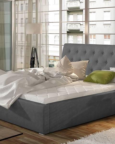 NABBI Monzo UP 160 čalúnená manželská posteľ s roštom tmavosivá