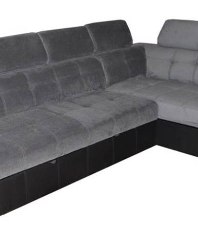 Atlanta P rohová sedačka s rozkladom a úložným priestorom sivá