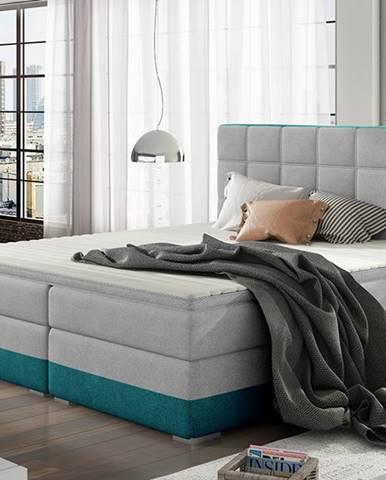 Dalino 160 čalúnená manželská posteľ s úložným priestorom svetlosivá