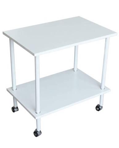 Labon príručný stolík na kolieskach biela