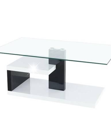 Lars New sklenený konferenčný stolík biely lesk