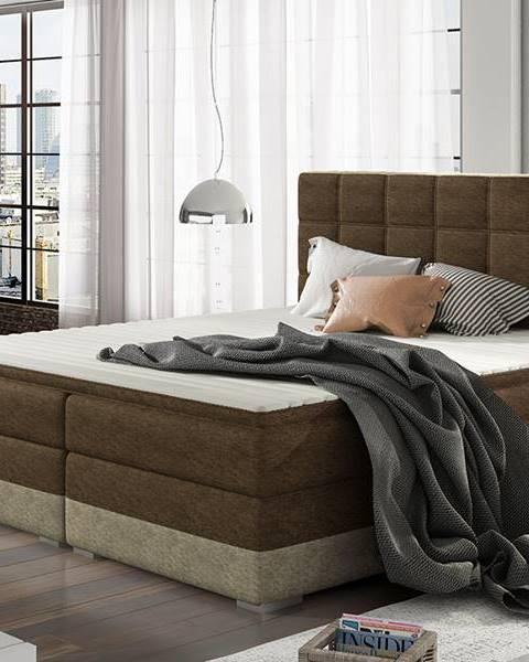 NABBI Dalino 160 čalúnená manželská posteľ s úložným priestorom tmavohnedá (Dora 26)