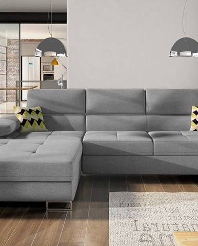 Alkazar L rohová sedačka s rozkladom a úložným priestorom sivá