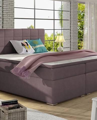 Anzia 180 čalúnená manželská posteľ s úložným priestorom fialová
