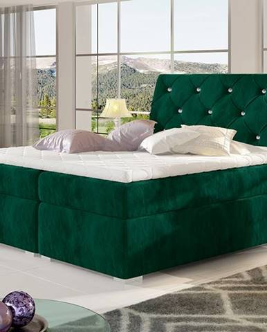 Beneto 160 čalúnená manželská posteľ s úložným priestorom tmavozelená