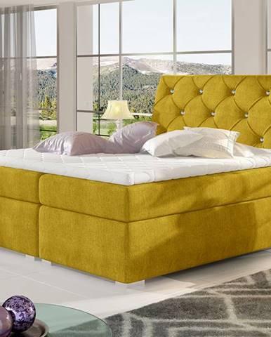 Beneto 180 čalúnená manželská posteľ s úložným priestorom žltá