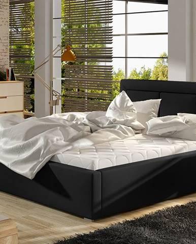 Branco 140 čalúnená manželská posteľ s roštom čierna