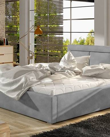 Branco 180 čalúnená manželská posteľ s roštom svetlosivá (Paros 05)