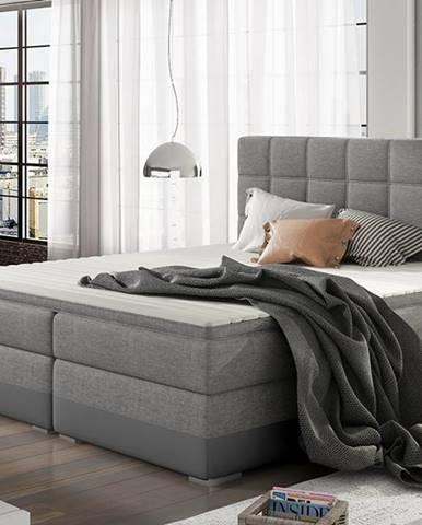 Dalino 180 čalúnená manželská posteľ s úložným priestorom svetlosivá (Sawana 21)
