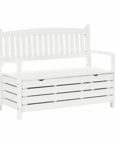 Dilka záhradná lavička s úložným priestorom biela