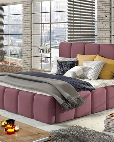Evora 140 čalúnená manželská posteľ ružová