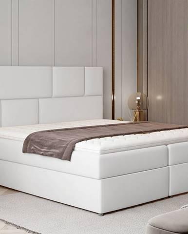 Ferine 185 čalúnená manželská posteľ s úložným priestorom biela