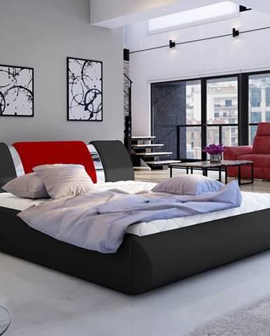 Folino 140 čalúnená manželská posteľ s roštom čierna