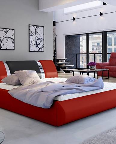 Folino 160 čalúnená manželská posteľ s roštom červená