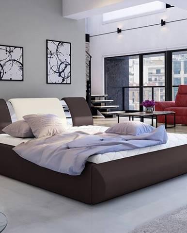 Folino 160 čalúnená manželská posteľ s roštom tmavohnedá