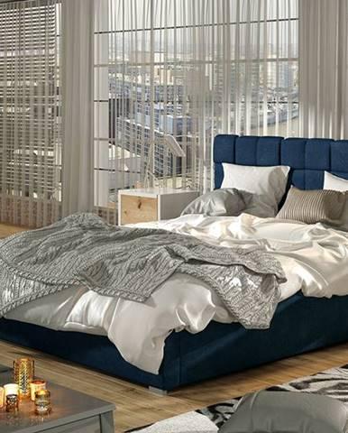 Galimo UP 140 čalúnená manželská posteľ s roštom tmavomodrá