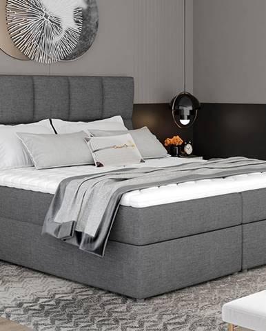 Grosio 145 čalúnená manželská posteľ s úložným priestorom sivá (Sawana 05)