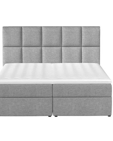 Grosio 165 čalúnená manželská posteľ s úložným priestorom svetlosivá