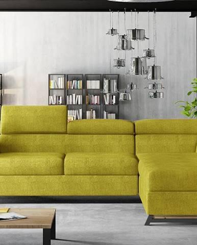 Korense P rohová sedačka s rozkladom a úložným priestorom žltá