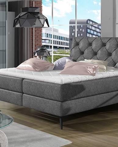 Lazio 140 čalúnená manželská posteľ s úložným priestorom čierna (Dora 96)