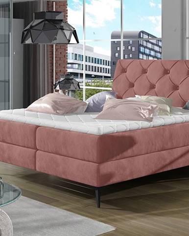 Lazio 140 čalúnená manželská posteľ s úložným priestorom ružová (Kronos 29)