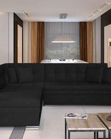 Pescara L rohová sedačka s rozkladom čierna (Ontario 100)