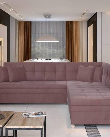 Pescara P rohová sedačka s rozkladom ružová (Velvet Mat 63)