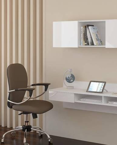 Uno pc stolík na stenu s policou biela