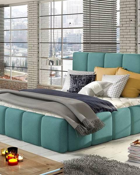 NABBI Evora 140 čalúnená manželská posteľ mentolová