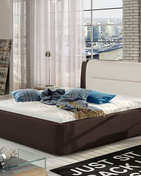 NABBI Portima 180 čalúnená manželská posteľ tmavohnedá (Soft 66)