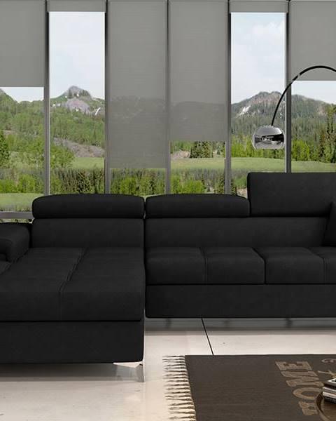 NABBI Rosino L rohová sedačka s rozkladom a úložným priestorom čierna (Ontario 100)