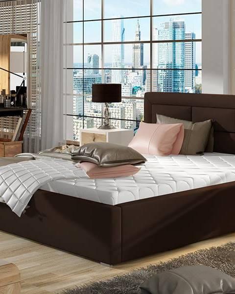 NABBI Rovigo UP 180 čalúnená manželská posteľ s roštom tmavohnedá (Soft 66)