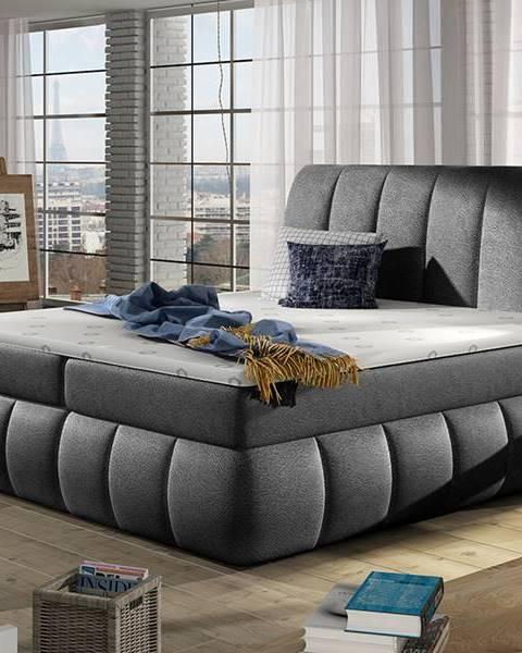 NABBI Vareso 180 čalúnená manželská posteľ s úložným priestorom čierna (Dora 96)