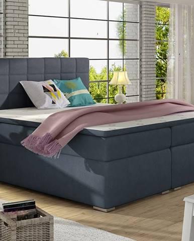 Anzia 140 čalúnená manželská posteľ s úložným priestorom modrá