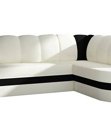 Belluno P rohová sedačka s rozkladom a úložným priestorom biela
