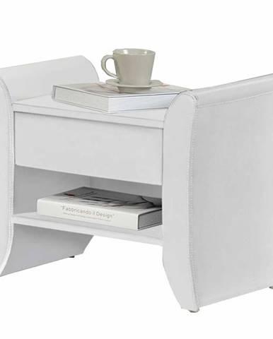 Bolton čalúnený nočný stolík biela