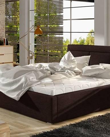 Branco UP 200 čalúnená manželská posteľ s roštom tmavohnedá (Sawana 26)