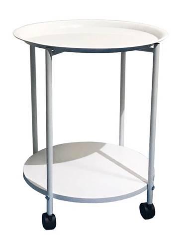 Derin príručný stolík na kolieskach biela