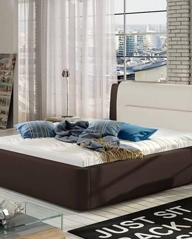 Portima 140 čalúnená manželská posteľ tmavohnedá (Soft 66)