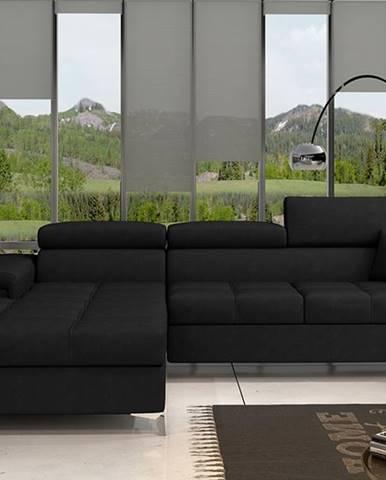 Rosino L rohová sedačka s rozkladom a úložným priestorom čierna (Ontario 100)