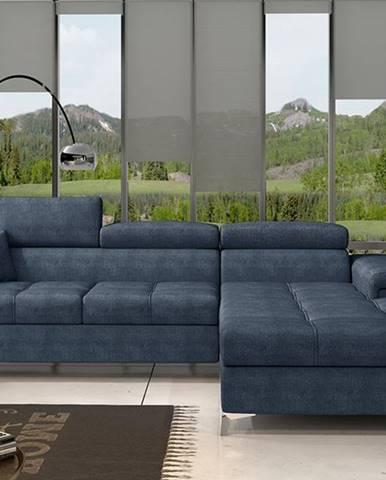 Rosino P rohová sedačka s rozkladom a úložným priestorom modrá