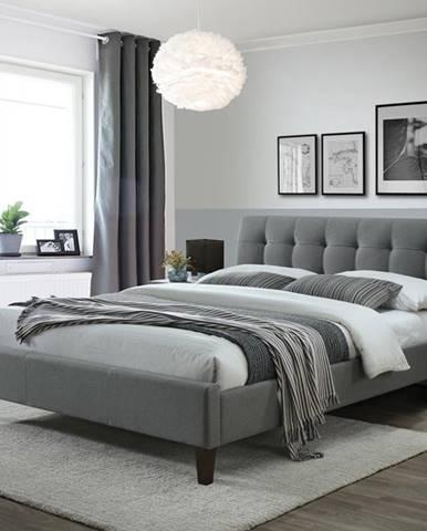 Samara 2 160 čalúnená manželská posteľ s roštom sivá