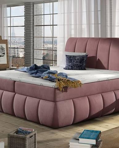 Vareso 160 čalúnená manželská posteľ s úložným priestorom tmavoružová