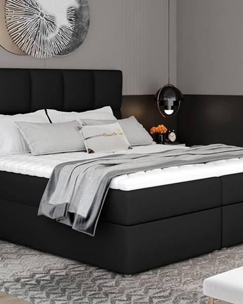 NABBI Grosio 145 čalúnená manželská posteľ s úložným priestorom čierna (Soft 11)